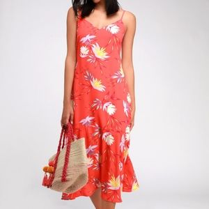 Lulus Quinlynn Coral Red Floral Print Midi Dress
